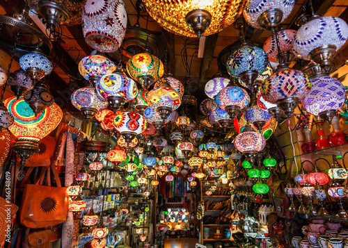 Colorful lanterns and lamps hanging in the market at Marrakesh, Morocco Wallpaper Mural
