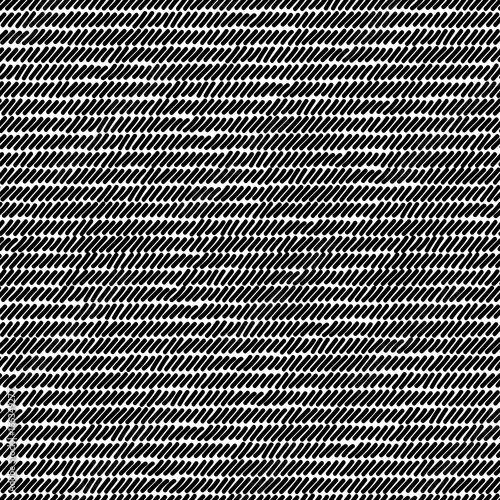Black and white rug woven striped fabric seamless pattern, vector Canvas Print