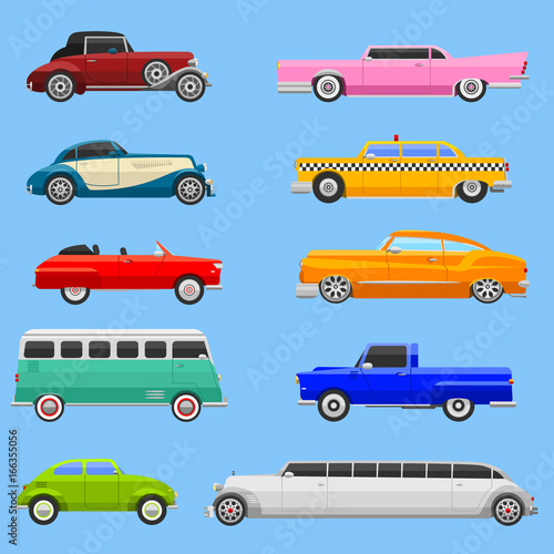 Retro car vehicle transport collection retro old fashion style vector illustration.