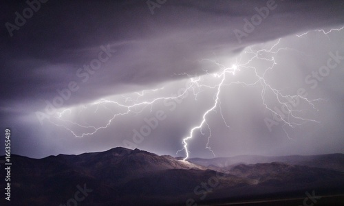 Poster Lavender Lightning Strike on Towne Pass in Death Valley National Park
