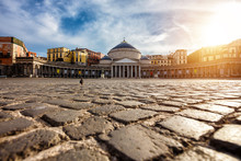 Piazza Del Plebiscito In Napoli, Italy. Travel Destination