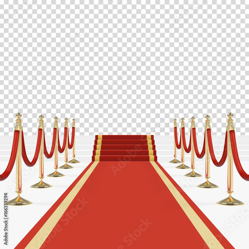 Valokuva Red carpet with red ropes on golden stanchions