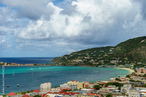 PHILIPSBURG, SINT MAARTEN - View of the port and beach from the high cliffs.
