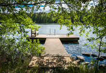 Idyllic Lake View With Pier At...