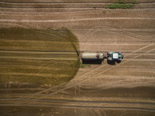 Aerial View Of A Tractor Wit...