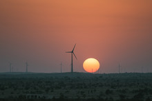 Sunset With Wind Mills