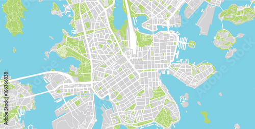 Fototapeta Urban city map of Helsinki, Finland