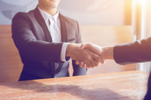 Great Job,Sealing Deal,Successful Business,Handshake,Businessman Join Together,Good Agreement.two Business People Shaking Hands Standing At The Working Place,business Partners,selective Focus,Vintage
