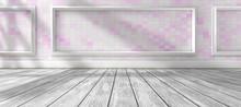 Arquitectura Interior De Casa.Fondo De Pared Y Suelo De Madera. Luz De Sol A Traves De La Ventana De La Habitación