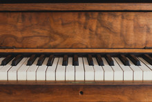 Close Up Of The Keys Of An Old Piano