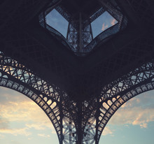 Under The Eiffel Tower At Sunset In Paris, France
