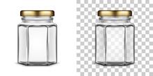 Vector Empty Hexagonal Glass Jar For Honey. Realistic Illustration.