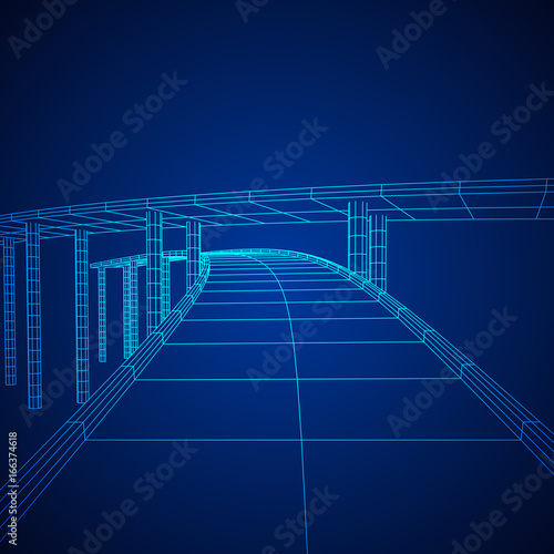 Wireframe Mesh Bridge Highway Crossing  Connection Structure