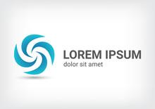 Windmill Vector Logo Design Template, Wave Icon, Spiral Sign, Twist Symbol, Vector Illustration