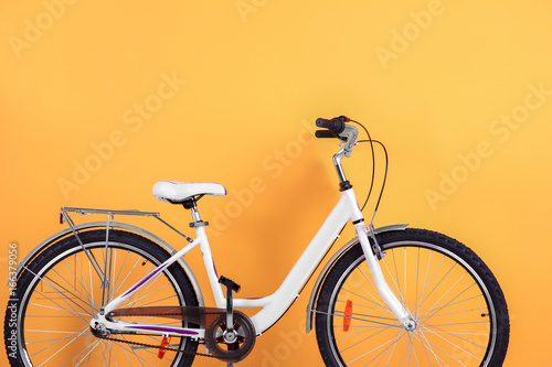Aluminium Prints Bicycle Bicycle on color background