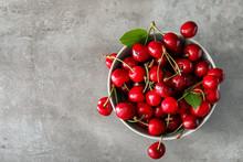 Bowl With Fresh Ripe Cherries ...