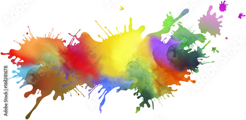 kleckse farben regenbogen freigestellt Canvas Print