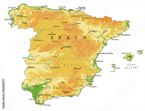 Fotografía Spain relief map