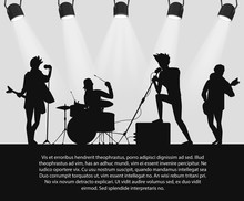 Rock Band Silhouette On Stage ...