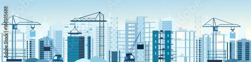 Fotografía  Vector illustration of buildings constructions site and cranes banner
