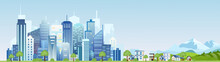 Vector Illustration Of Urban Industrial City Landscape. Big Modern City With Skyscrapers With Mountains And Country Houses In Flat Cartoon Style.