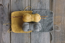 Grey And Yellow Balls Of Wool ...
