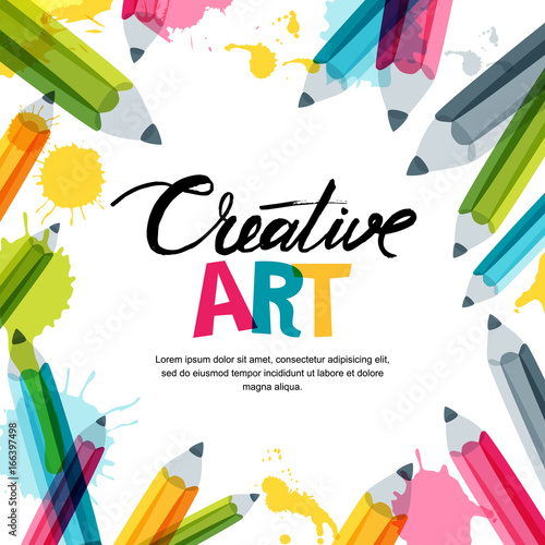 Creative, Art And Design Concept. Vector Banner, Poster Or Frame Background  With Hand