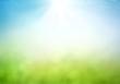 Leinwandbild Motiv World environment day concept: Abstract blurred beautiful green bokeh light meadow and blue sky on autumn sunrise background