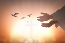 Ascension Day Concept: Silhouette Human Open Two Empty Hands With Palms Up And Birds Flying Over Blurred Cross In Church Background.