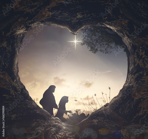 Fotografie, Obraz  Christmas religious nativity concept: Silhouette mother Mary and father Joseph l