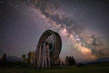 Milky Way Over Old Waterwheel
