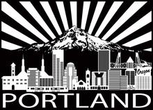 Portland City Skyline And Moun...