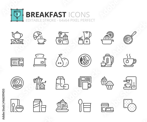 Fototapeta Outline icons about breakfast obraz