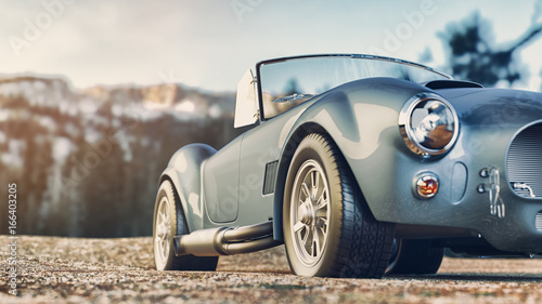 Obraz Classic car parked in the mountains in the morning. 3d render and illustration. - fototapety do salonu
