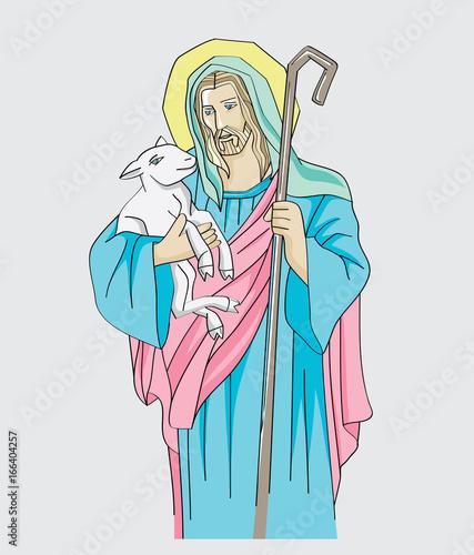 Illustration of Jesus Christ is the good shepherd, art vector design Wallpaper Mural