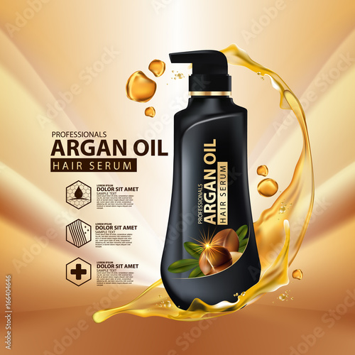 argan oil hair care protection contained in bottle ,golden and black background Wallpaper Mural