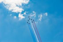French Air Patrol In Blue Sky,...