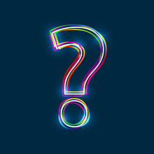 Question Mark - Vector Multicolored Outline Font With Glowing Effect Isolated On Blue Background. EPS10