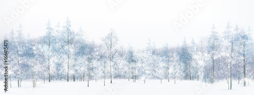Fényképezés  Vector winter  forest background.