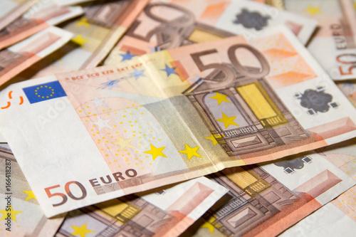 Foto op Aluminium Imagination Close-up of the 50 Euro banknotes.