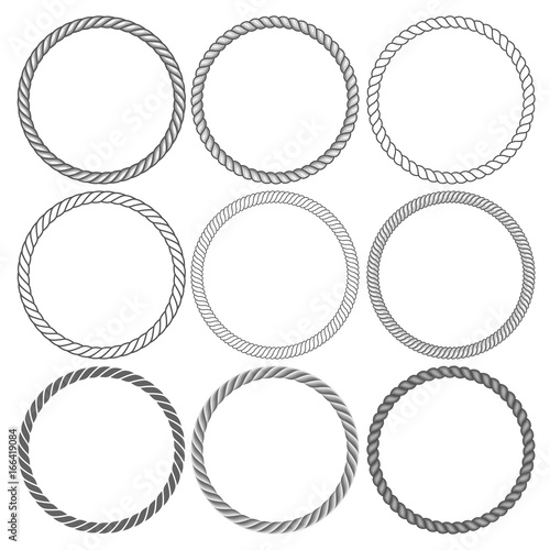 Fotografia Round rope frames collection on white background