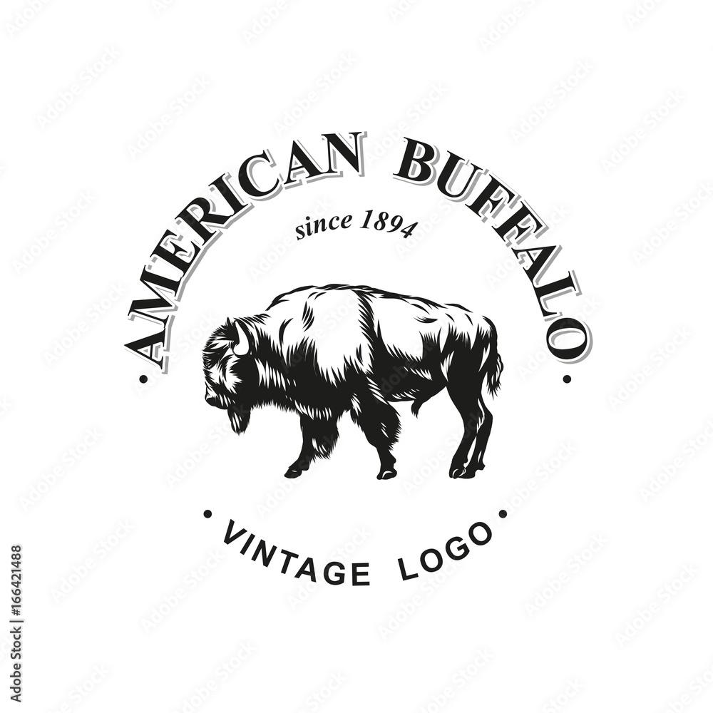 Fototapeta American buffalo logo inked vector