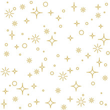 Modern Linear Decoration With Stars In Gold. Seamless Vector Pattern