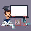 color background with chalk board and boy student with book and cap graduation with elements school