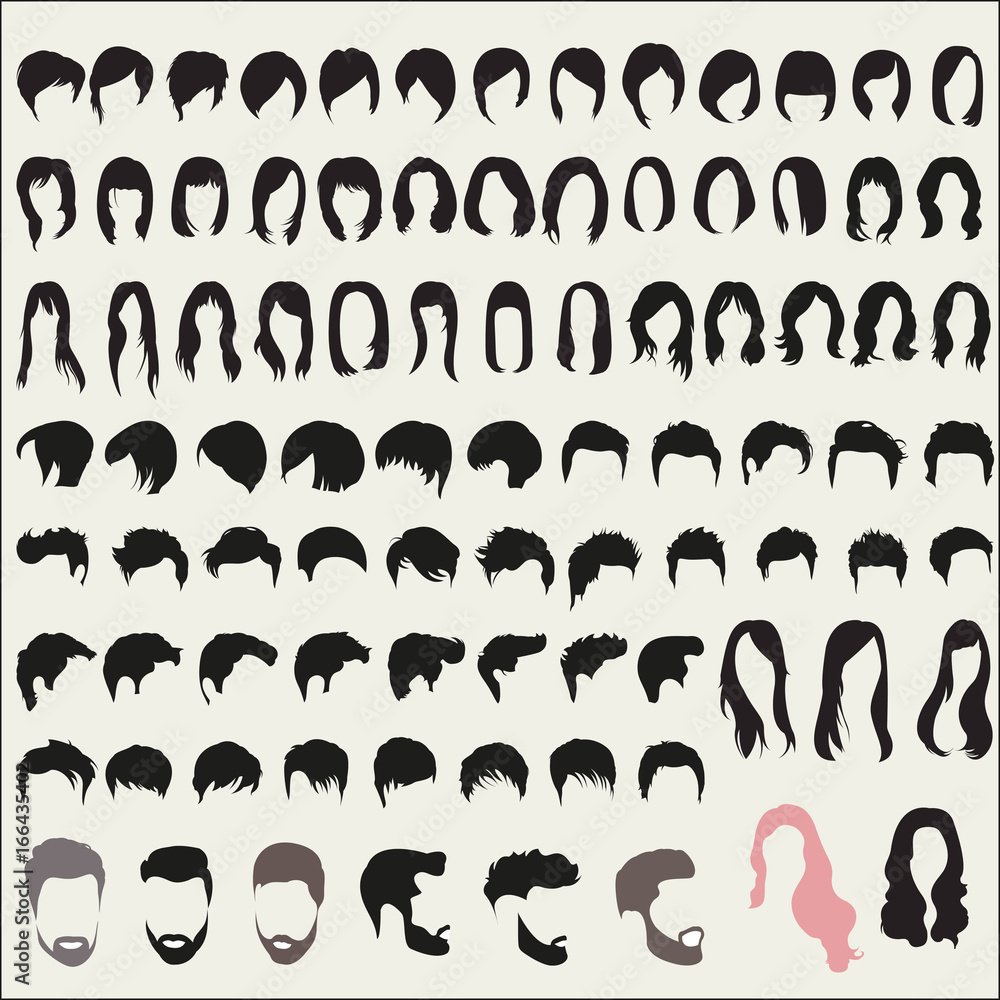 Fototapeta Large set of hairstyles for men and women