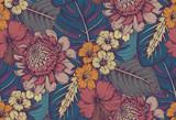 Wektor wzór z kompozycjami wyciągnąć rękę tropikalnych kwiatów - 166439852