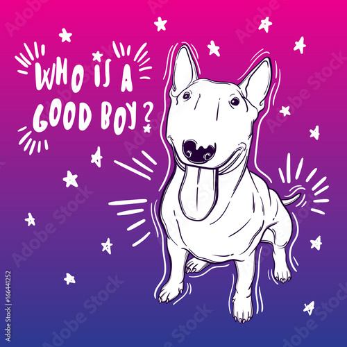 Deurstickers Babykamer Cute vector illustration with bullterrier. Home dog. Perfect for printing clothes or stickers or coloring books.