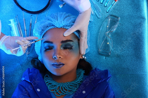 Fototapety, obrazy: Creative Plastic Surgery on Blue Tone Fashion Patient Female model