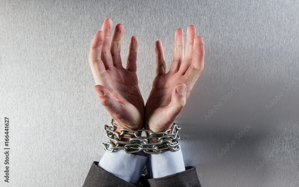 Fototapety, obrazy: desperate man hands tied with chain begging for employee victim