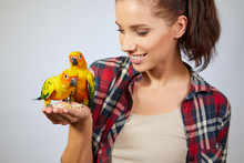 Woman Feeding Parrots. Isolate...